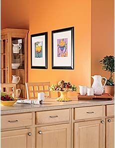 Kitchen Wall Paint Colors decorating with warm, rich colors | orange walls, white cabinets