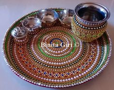 Arti Thali Decoration, Kalash Decoration, Diwali Diya, Diwali Craft, Diy Diwali Decorations, Candle Holder Decor, Beaded Boxes, Wedding Plates, Wedding Gift Wrapping