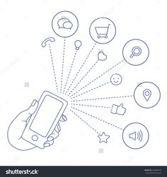 Hand Keeps Mobile With Set Icons. Demonstration Screen Of Display For Market. Internet Trend Market And Social Network In Smartphone. Vector Flat Illustration Of Cloud Service And Technology Network - 332895479 : Shutterstock