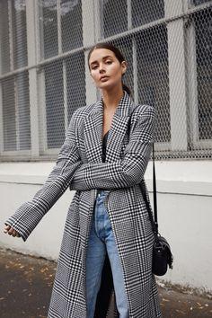 long check coat   blue denim jeans   street style   HarperandHarley