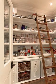 Walk-in pantry with ladder for higher shelves