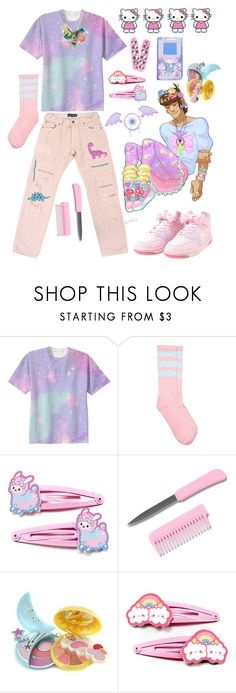 """fairy kei boy"" by fae-enby ❤ liked on Polyvore featuring Pupa, Hello Kitty, men's fashion, menswear, cute, pastel, boys, kawaii and fairykei"