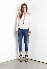 FIFTEEN-TWENTY EMBROIDERED STAND COLLAR TOP