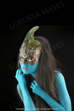 """""""Unicorn Altuzza"""" Mask - Unique Mask Design handmade with Passion and Papier Mâché, Exclusive, Styling accessory, ornamented, Art, Collectable Greek Wedding Dresses, Average Face, Wedding Silhouette, Winter Crafts For Kids, Mermaid Dresses, Craft Stick Crafts, Mask Design, New Trends, Beautiful Bride"""