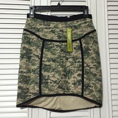 "Gianni Bini Skirt NWT Vera knit skirt ""Envious"" Army green, lace over lay. Cotton under/lining, 15"" long in front Gianni Bini Skirts High Low"