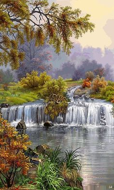 DIY Diamond embroidery coss-stitch kits lake diamond mosaic painting paint pictures for living room decor landscape waterfall Pictures To Paint, Nature Pictures, Beautiful Paintings, Beautiful Landscapes, Landscape Art, Landscape Paintings, Chinese Landscape, Contemporary Landscape, Waterfall Paintings