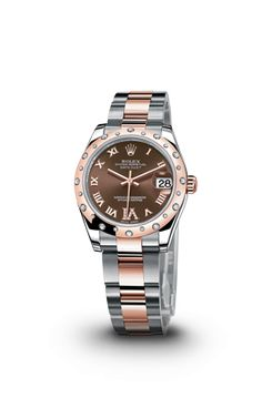 Just got this new watch in @Anderson White Brothers Jewelers ! Ladies DateJust 31mm in Steel and 18kt Rose Gold with the breath-taking starlight diamond bezel from Rolex. Stop by and see it today