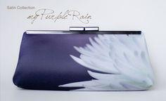 Bridesmaid clutch handbag purple floral wedding prom by evaricci