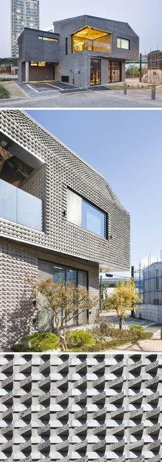 14 Modern Houses Made Of Brick | The bricks on the exterior of this house have been arranged on angles to create a textured look on the home.