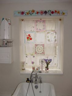 Delicate curtain made of vintage hankies