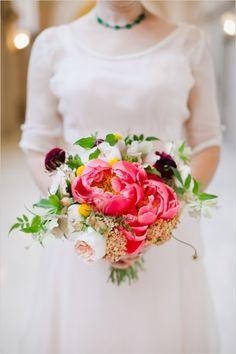 Bright pink bridal bouquet.