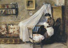 Joaquín Sorolla, El primer hijo, 1890. Acuarela sobre papel, 48 x 65 cm, Colección particular