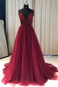 Hot Selling A-Line V-Neck Burgundy Tulle Long Prom/Evening Dress with Beading