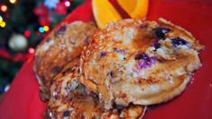 Blueberry Banana Egg Pancakes just 3 ingredients! And only 65 calories!