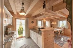 🌟Tante S!fr@ loves this📌🌟Swap the counter for the counter with the sink so you don't look at the wall while doing dishes Chalet Design, Cabin Design, Cottage Design, Cabin Homes, Log Homes, Barn Loft Apartment, Chalet Interior, Cabin Kitchens, Wooden House