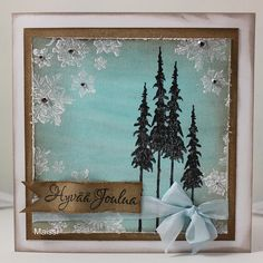 (Maissi) Distress Stain background and stamping with gesso for a frosty look.