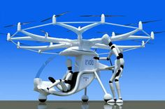 Illustration of single-seat Volocopter powered by 16 separate, computer-controlled electric motors