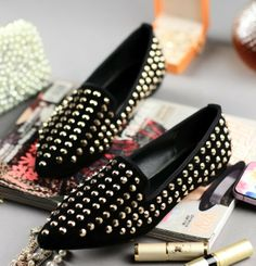 ENMAYER Black 2014 New arrive spring High quality women Flat shoes lady fashion fltas pointed Rivets shoes $98.80