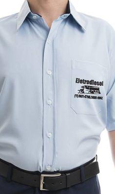 Camisa social masculina com a estampa bordada para a Eletrodiesel Recuperadora de Peças por Foco Design & Gráfica.