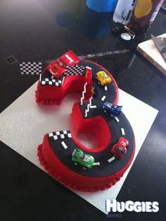 Number 3 Cake with Buttercream Icing and Fondant Track.