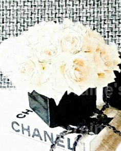 Chanel Decor:  A Watercolor Fashion Fine Art Print for the Fashionista, Black and White Feminine Bedroom Bathroom Home Decor