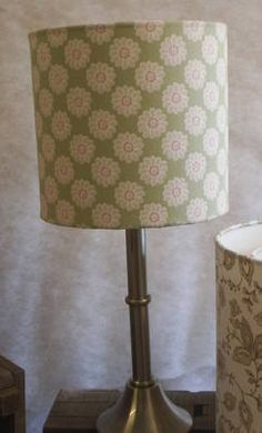 Drum Lampshade in Sage Daisy Print Fabric