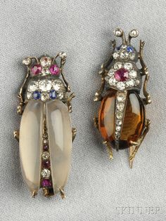 Two Antique Gem-set Insect Brooches