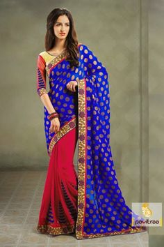 Blue and dark pink georgette party wear Saree make with Resham, appliqu and embroidery border work and semi-stitched blouse. This sarees gives elegant look.