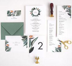 Tropical wedding program, menu, tablescape, thank you, place card, bird of paradise