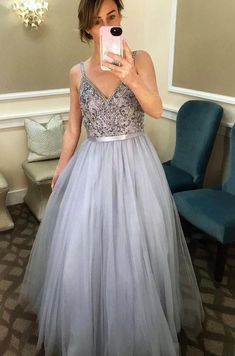 Sparkly V-Neck Beaded Tulle Prom Dress with Beadings Straps Custom Made Long A-Line Evening Gowns Fashion Beads Graduation Party Dresses School Dance Dresses, Prom Dresses For Teens, A Line Prom Dresses, Prom Party Dresses, Evening Dresses, Formal Dresses, Elegant Dresses, Sexy Dresses, Prom Gowns