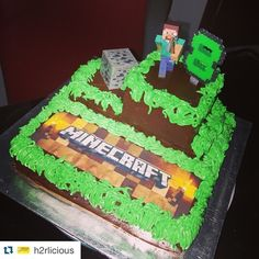 My very FIRST attempt to make a MineCraft birthday cake for an 8-year old boy.