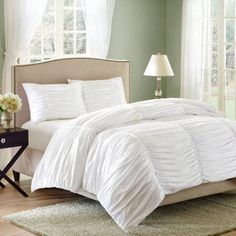 $39 Better Homes and Gardens Ruched 3-Piece Bedding Comforter Mini Set - Walmart.com