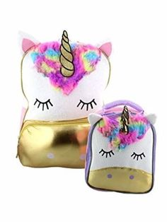 bda5cabd98c Unicorn Girls Backpack School Lunch Box Kid Book-bag Travel Set NEW   AccessoryInnovations