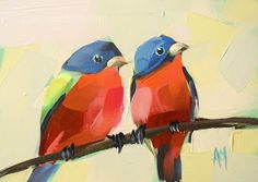 """Angela Moulton: """"Two Painted Buntings"""""""