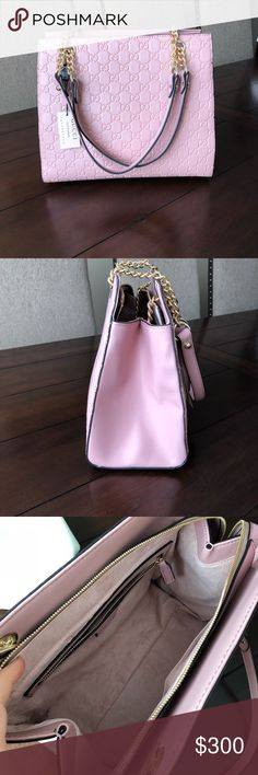 New shoulder bag New pale pink shoulder bag. Big bag, comes with dust bag. Good quality bag. Price reflects the authenticity. Also have backpacks available in black and white. Price is different for each. Let me know if interested. Offers welcome. No trades. Gucci Bags Shoulder Bags