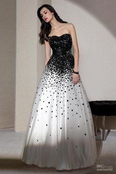 Gorgeous Sweetheart Neckline Black And White Prom Dress