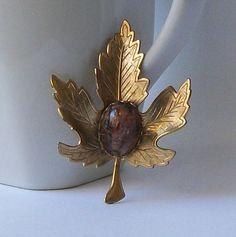 Vintage Leaf  Brooch by VintageSundries on Etsy