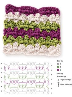 crochet stitch: scallop stripes