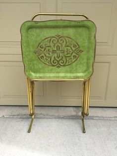 Vintage TV Trays With Stand Three Green TV By GirlGoesVintage