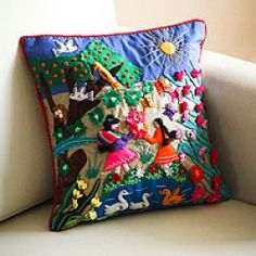 Applique cushion cover, \Mother\s Day\ (Peru)