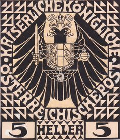 Postage stamp design for mail postal (not issued) 1908 by Koloman Moser (Austrian)