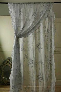アンティーク オーガンジーレースカーテン(ロング) French Vintage Lace Curtain