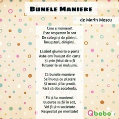 Bunele maniere Kids Poems, Kids Education, Respect, Parenting, Classroom, Humor, Words, Floral, Funny