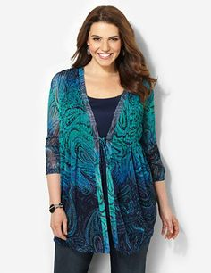 Discover endless depth and style with this polished duet top. Two-piece look features a solid scoopneck tank underneath a coordinating attached jacket. Paisleys and peacock feathers give the silky, semi-sheer fabric a fresh awakening. Openfront design is unique with its rope ties with fringed tassels. Cascading pleats complete the chest. Finished with three-quarter sleeves and a draping, asymmetrical hem. Catherines tops are designed for the plus size woman to guarantee a flattering fit. ...