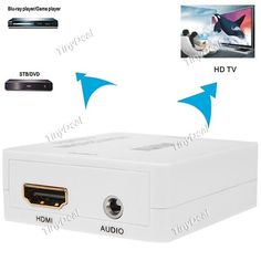 Mini HDMI to HDMI   Audio HD Video Converter Adapter Box 1080P with USB Cable CAD-98142
