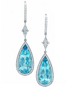 Pear Shaped Aquamarine Drop Earrings.