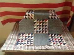 """Stunning Antique 1890s Flying Geese Crib Big Doll Quilt Top Indigo Blue Reds, from Amana Colonies area, IA, blocks 7 1/2"""", 22 x 24"""" 