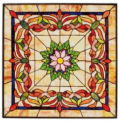 "Kaleidoscope 24"" Square Tiffany-Style Art Glass - Stained Glass Window - Stained Glass Window Hanging | HomeDecorators.com"