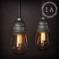 Matching Pair Vintage Industrial Killark Hanging Explosion Proof Pendant Lamp Chandelier