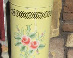 Vintage Mid Century Pink Roses on Yellow Metal Nursery Hamper / Waste can / Umbrella stand - with lid Umbrella Stands, Vintage Marketplace, Vintage Yellow, Hamper, Pink Roses, Mid Century, Nursery, Metal, Kitchen